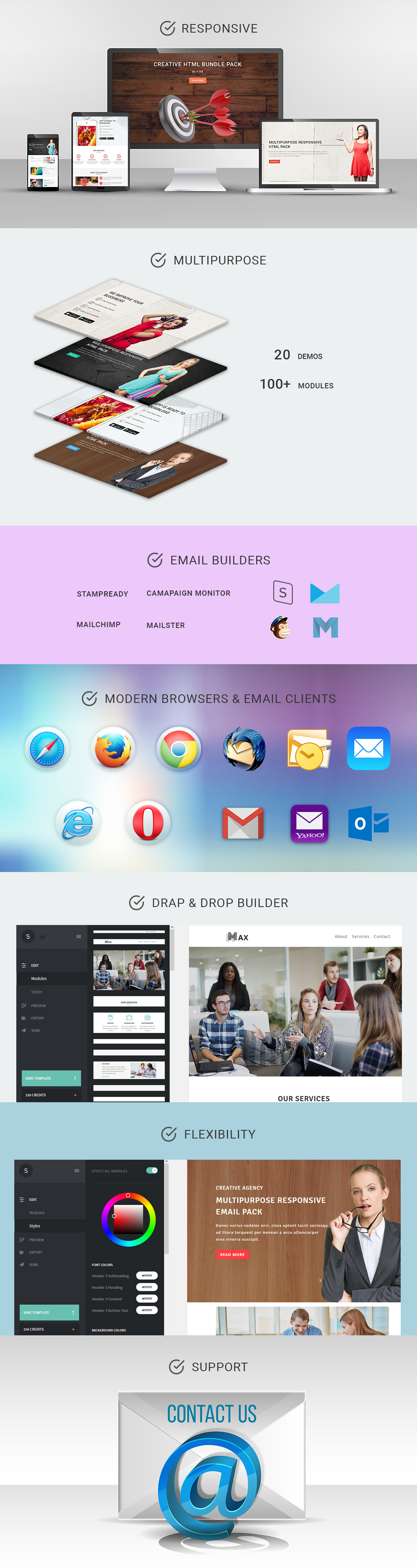 MAX - Multipurpose Responsive Email Pack with Stamp Ready Builder Access